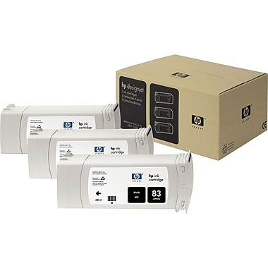 HP 83 Black Ink Cartridges (C5072A), 3/Pack