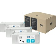 HP 81 Cyan Ink Cartridges (C5067A), 3/Pack
