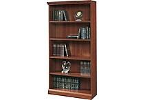 Sauder Premier 5-Shelf Composite Wood Bookcase, Planked Cherry Finish