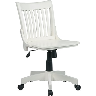 Office Star Armless Wood Banker's Chair, Antique White