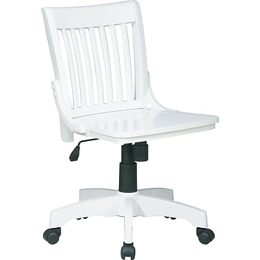 Office Star Vintage Wood Banker's Chair, Armless, White