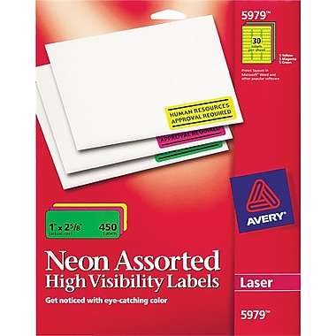Avery 5979 Neon Laser Address  Labels,  1in. X 2-5/8in., Assorted Colors, 450/Box