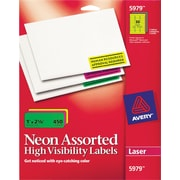 Avery® 5979 Neon Laser Address  Labels,  1 X 2-5/8, Assorted Colors, 450/Box