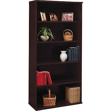 Bush Westfield 5-Shelf Bookcase, Mocha Cherry