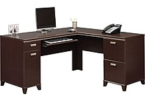 Bush Tuxedo L-Desk, Mocha Cherry or Hansen Cherry