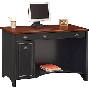 Bush Furniture Stanford 48W Desk, Antique Black with Hansen Cherry