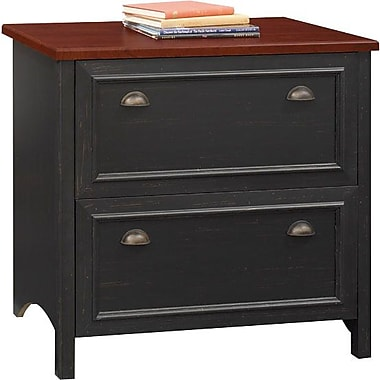 Bush Furniture Stanford 2 Drawer Lateral File, Antique Black with Hansen Cherry