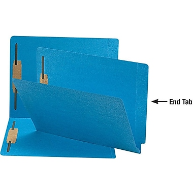 Smead Reinforced End-Tab Fastener Folders, Letter, Blue, 50/Box