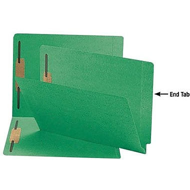 Smead Reinforced End-Tab Fastener Folders, Letter, Green, 50/Box