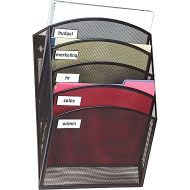 Staples® Black Wire Mesh 5-Pocket Wall File, Letter-Size