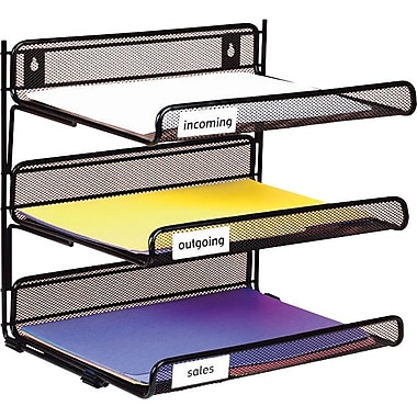 Staples® Black Wire Mesh 3-Tier Desk Shelf