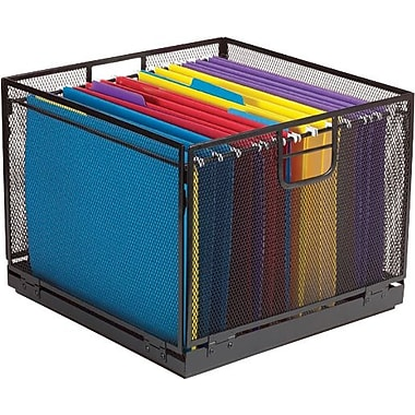 Staples Collapsible Black Wire Mesh File Box