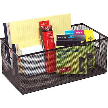 Staples® Black Wire Mesh Large Storage Box