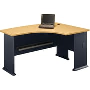 Bush Cubix Right L-Bow Desk, Euro Beech/Slate Gray