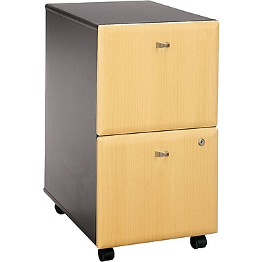 Bush Cubix 2-Drawer File Cabinet, Beech/Slate Gray, Fully assembled
