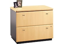 Bush Business Cubix 36W 2Dwr Lateral File, Euro Beech/Slate, Pre-Assembled