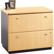 Bush Cubix Lateral File Cabinet, Euro Beech/Slate Gray, Fully assembled