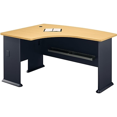 Bush Cubix Left L-Bow Desk, Euro Beech/Slate Gray, Fully assembled