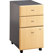 Bush Cubix 3-Drawer File Cabinet, Euro Beech/Slate Gray, Fully assembled