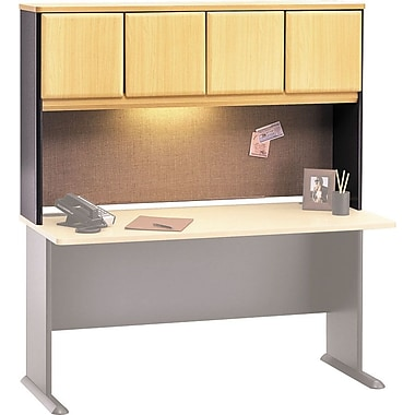 Bush Cubix 60in. Hutch, Euro Beech/Slate Gray, Fully assembled