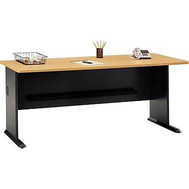 Bush Cubix 72in. Desk, Euro Beech/Slate Gray