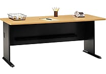 Bush Cubix 72' Desk, Euro Beech/Slate Gray, Fully assembled