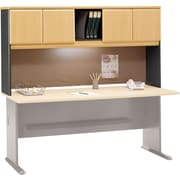 Bush Cubix 72 Hutch, Euro Beech/Slate Gray, Fully assembled