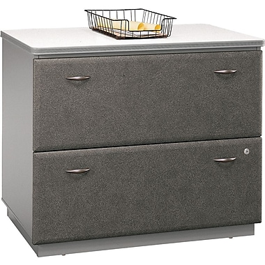 Bush Cubix Lateral File Cabinet, Pewter/White Spectrum, Pre-Assembled