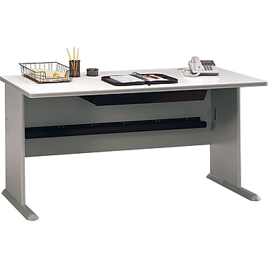 Bush Cubix 60in. Desk, Pewter/White Spectrum, Fully assembled