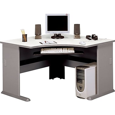Bush Cubix 48in. Corner Desk, Pewter/White Spectrum, Fully assembled
