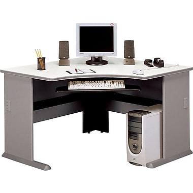 Bush Cubix 48in. Corner Desk, Pewter/White Spectrum, Fully assembled