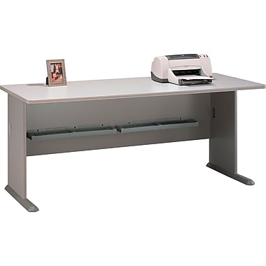 Bush Cubix 72in. Desk, Pewter/White Spectrum, Fully assembled