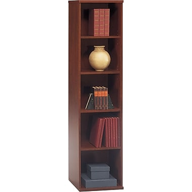 Bush Westfield 5-Shelf Space-Saver Bookcase, Hansen Cherry/Graphite Gray