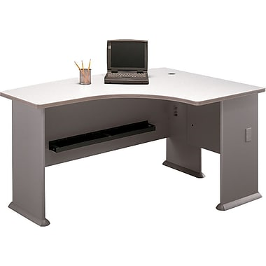 Bush Cubix Right L-Bow Desk, Pewter/White Spectrum, Fully assembled