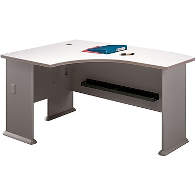 Bush Cubix Left L-Bow Desk, Pewter/White Spectrum, Fully assembled