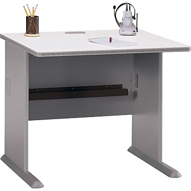 Bush Cubix 36in. Desk, Pewter/White Spectrum