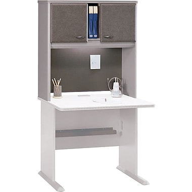 Bush Cubix 36in. Hutch, Pewter/White Spectrum, Fully assembled