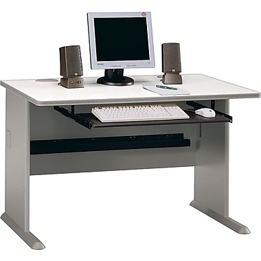 Bush Cubix 48in. Desk, Pewter/White Spectrum, Fully assembled