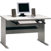 Bush Cubix 48 Desk, Pewter/White Spectrum, Fully assembled
