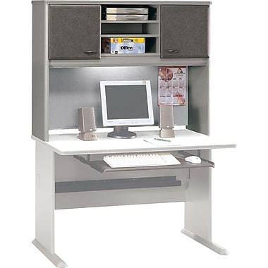 Bush Cubix 48in. Hutch, Pewter/White Spectrum, Fully assembled