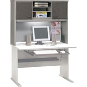 Bush Cubix 48 Hutch, Pewter/White Spectrum, Fully assembled