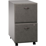 Bush Cubix 2Dwr Mobile Ped, Pewter, Pre-Assembled