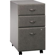 Bush Cubix 3-Drawer File Cabinet, Pewter/White Spectrum, Fully assembled