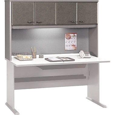 Bush Cubix 60in. Hutch, Pewter/White Spectrum, Fully assembled