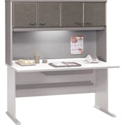 Bush Cubix 60 Hutch, Pewter/White Spectrum, Fully assembled