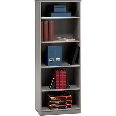Bush Cubix 5-Shelf Bookcase, Pewter/White Spectrum, Fully assembled