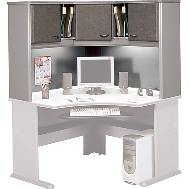 Bush Cubix 48in. Corner Hutch, Pewter/White Spectrum