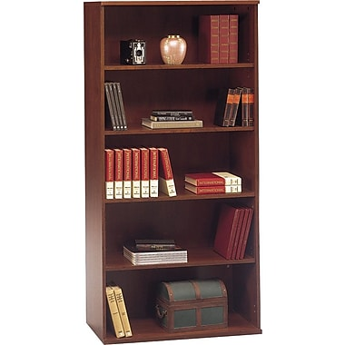 Bush Westfield 5-Shelf Bookcase, Hansen Cherry/Graphite Gray