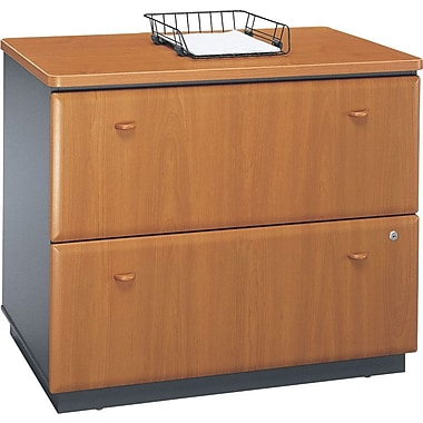 Bush Cubix Lateral File Cabinet, Natural Cherry/Slate Gray