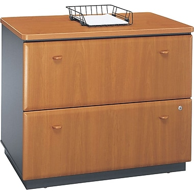 Bush Cubix Lateral File Cabinet, Natural Cherry/Slate Gray, Fully assembled